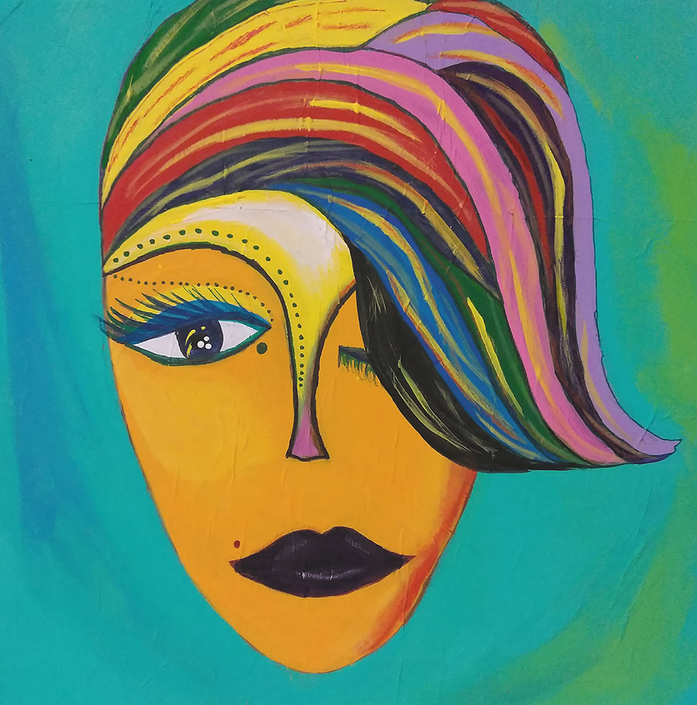 Acrylic painting on canvas of a female face/mask with multi-colored hair