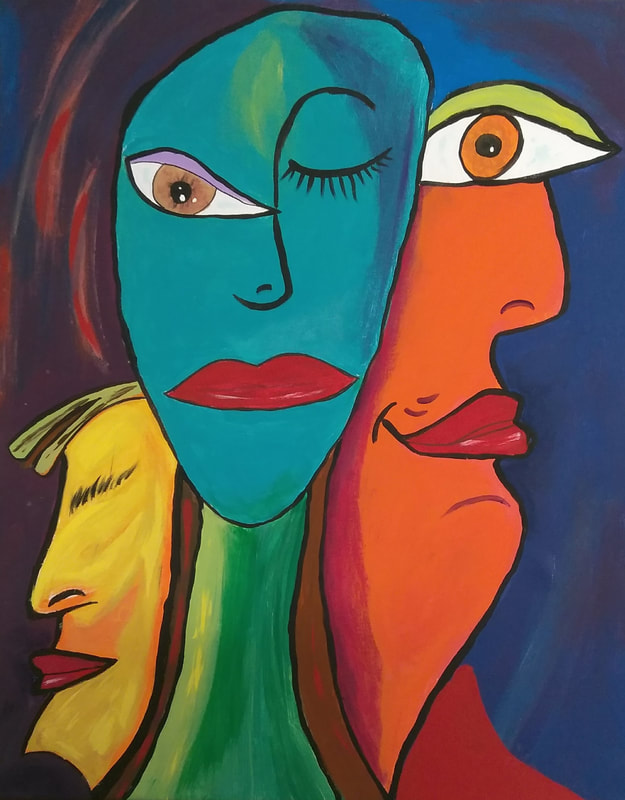 acrylic painting of picasso style faces